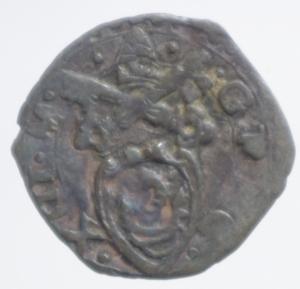 obverse: Zecche Italiane. Ancona. Gregorio XIII (1572-1585). Quattrino. CNI 356. Mi.Peso 0,38 gr.qBB.