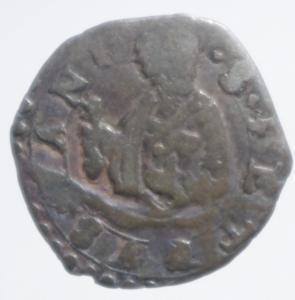 reverse: Zecche Italiane. Ancona. Gregorio XIII (1572-1585). Quattrino. CNI 356. Mi.Peso 0,38 gr.qBB.