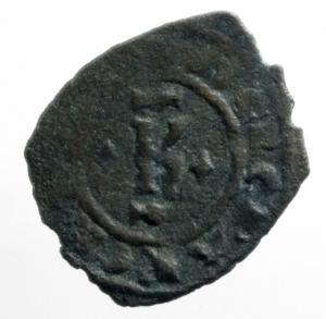 obverse: Zecche Italiane .Brindisi. Carlo I d Angi (1266-1278). Denaro con K e quattro gigli. MIR 339. Sp. 31. MI. g. 0.67. qBB.ex Tintinna 77 lotto 556 aggiudicato ma non pagato