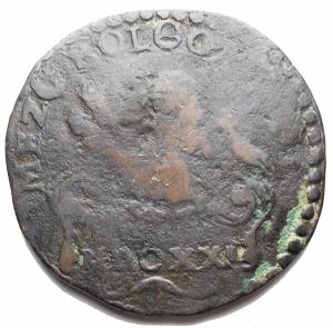 obverse: Zecche Italiane -Bologna.Gregorio XV (1621-1623).Mezo Bolognino MDCXXI.M. 36. Berm. 1657.AE.g. 8,35. MB-qBB.