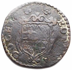 reverse: Zecche Italiane -Bologna.Gregorio XV (1621-1623).Mezo Bolognino MDCXXI.M. 36. Berm. 1657.AE.g. 8,35. MB-qBB.