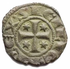 reverse: Zecche Italiane - Brindisi.Manfredi (Re di Sicilia, 1258-1266), Denaro, prima del 1263; BI (g 0,64; mm 15,669) d/ + MANFRIDVS, nel campo, A tra due globetti, entro cerchio lineare r/ + REX SICILIE, croce con astri nei quattro angoli, entro cerchio lineare. Spahr 193; MEC XIV, 602; Travaini 65. BB+. Patina verde marrone