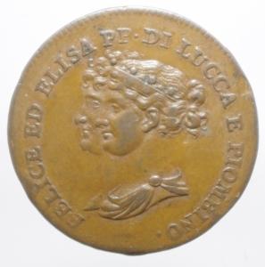 obverse: Zecche Italiane. Lucca e Piombino. Elisa Bonaparte e Felice Baciocchi (1805-1814). 5 centesimi 1806. Gig.9 var. gr. 9.65 27.00mm. R. AE.qSPL.ig
