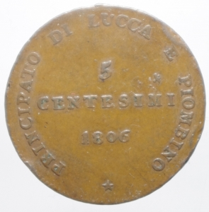reverse: Zecche Italiane. Lucca e Piombino. Elisa Bonaparte e Felice Baciocchi (1805-1814). 5 centesimi 1806. Gig.9 var. gr. 9.65 27.00mm. R. AE.qSPL.ig
