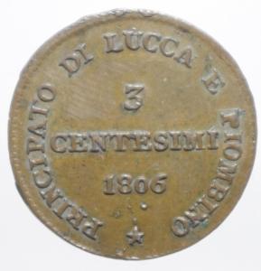 reverse: Zecche Italiane.Lucca e Piombino. Elisa Bonaparte e Felice Baciocchi (1805-1814). 3 Centesimi 1806. CNI 9 MIR 247. AE. R. SPL.ig