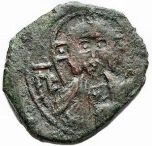 obverse: Zecche Italiane - Messina o Palermo. Ruggero II (1127-1154). Frazione di follaro, battuto nel 1138 a Messina. gr 1,56. Sp. 62. AE. BB. Raro