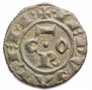 obverse: Zecche Italiane - Messina. Corrado I. 1250-1254.Denaro. D/ COR. R/ Croce. MI, 0.71 gr. Sp.158. BB-SPL