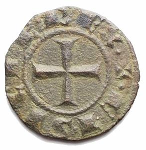 reverse: Zecche Italiane - Messina. Corrado I. 1250-1254.Denaro. D/ COR. R/ Croce. MI, 0.71 gr. Sp.158. BB-SPL