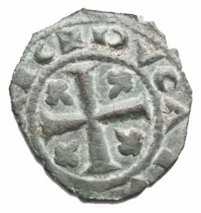 reverse: Zecche Italiane - Messina Carlo I d  Angi (1266-1285) Denaro. D/ KAR, sopra .R/ Croce, nei quarti gigli. Sp.50. MI. 0,72 gr.BB+