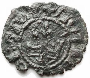 reverse: Zecche Italiane - Messina. Maria e Martino (1396-1402). Denaro con M gotica su croce e corona. MIR 218. AE. gr 0,35. BB