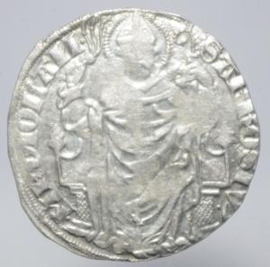 obverse: Zecche Italiane. Milano. Gian Galeazzo Visconti. 1395-1402. Pegione. AG.D\ Sant  Ambrogio in trono . Cr. 7,2. Peso 2,50 gr. Diametro 22,00 mm. BB.
