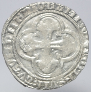 reverse: Zecche Italiane. Milano. Gian Galeazzo Visconti. 1395-1402. Pegione. AG.D\ Sant  Ambrogio in trono . Cr. 7,2. Peso 2,50 gr. Diametro 22,00 mm. BB.