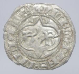 obverse: Zecche Italiane. Milano. Barnab Visconti. 1378-1385. Sesino.Biscione \ G B in cartella tra fiori. AG. Cr. 5/A. Peso 1,05 gr.BB+.