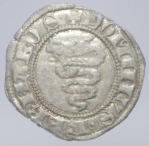 reverse: Zecche Italiane. Milano. Barnab Visconti. 1378-1385. Sesino.Biscione \ G B in cartella tra fiori. AG. Cr. 5/A. Peso 1,05 gr.BB+.