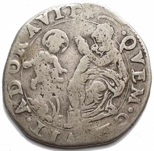 reverse: Zecche Italiane -Modena.Francesco I d Este. 1629-1658.2 lire 1658.Ag. Peso gr. 7,23. Diametro mm. 29,7.B-MB.