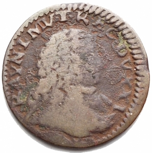 obverse: Zecche Italiane - Modena.Rinaldo d Este (1706-1737).Mezzo bolognino.MIR 839.AE.MB-qBB.