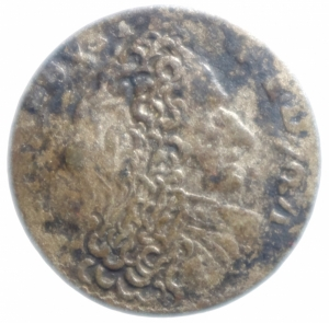 obverse: Zecche Italiane . Modena. Rinaldo d Este (1706-1737). Giorgino. MIR 836. MI. NC. Peso 1,75 gr.MB\qBB.