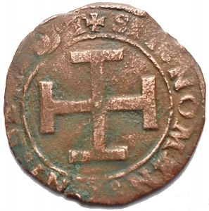 reverse: Zecche Italiane - Napoli, Federico III dAragona (1496-1501), Sestino, 1496-1501; AE (g 1,74. mm 19,55 ) d/ FEDERICVS D G R SI Busto a ds r/ SIT NOMEN DNI BENEDIT Croce. MIR 109. MB-qBB