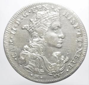 obverse: Zecche Italiane.Napoli. Carlo II re di Spagna (1674-1700). Mezzo ducato da 50 grana 1693 (sigle AG/A; Andrea Giovane m.d.z. e Marco Antonio Ariani m.d.p.) AG gr. 10,94. P.R. 7. MIR 297. Leggera patina iridescente, q.SPL.ig
