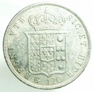 reverse: Zecche Italiane. Napoli. Ferdinando II di Borbone. 1830-1859. 120 grana o piastra 1841. AG. Ottimo BB.