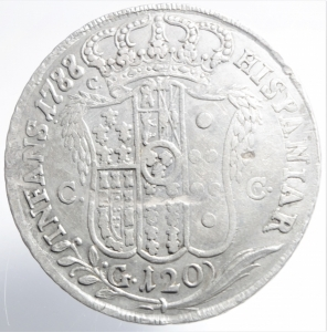 reverse: Zecche Italiane.Napoli. Ferdinando IV (I periodo 1759-1799). 120 grana o piastra 1788. MIR 370/4. P.R. 52. AR.BB\ BB+.ig