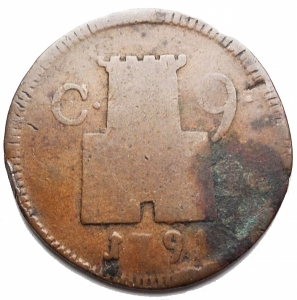 reverse: Zecche Italiane -Napoli.Ferdinando IV (I periodo 1759-1799).9 cavalli 1791.P.R. 125. MIR 400/3.AE.g 3,88. MB+.NC.