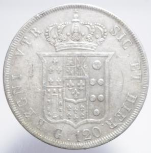 reverse: Zecche Italiane. Napoli. Ferdinando II di Borbone. 1830-1859. 120 grana o piastra 1842. AG. BB.