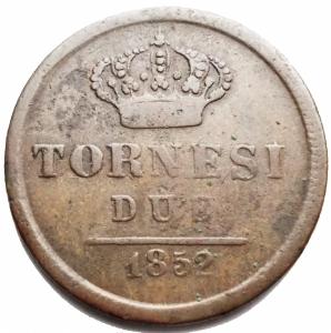 obverse: Zecche Italiane - Napoli. Ferdinando II.Due tornesi 1852. Peso 5,78 g. P.R. 254.qBB.