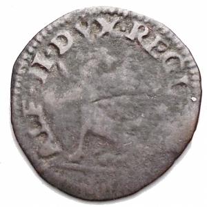 obverse: Zecche Italiane-Reggio Emilia. Alfonso II. 1559-1597.Sesino con lunicorno. MI. MIR 1347. Peso gr. 0,75. qBB. Raro