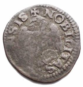 reverse: Zecche Italiane-Reggio Emilia. Alfonso II. 1559-1597.Sesino con lunicorno. MI. MIR 1347. Peso gr. 0,75. qBB. Raro