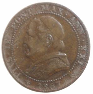 obverse: Zecche Italiane.Roma. Pio IX (846-1870) Soldo 1867 A. XXI. AE, Pag. 602. BB+