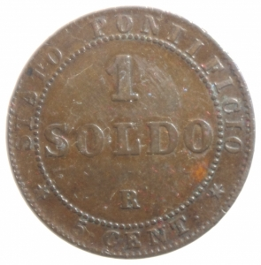 reverse: Zecche Italiane.Roma. Pio IX (846-1870) Soldo 1867 A. XXI. AE, Pag. 602. BB+