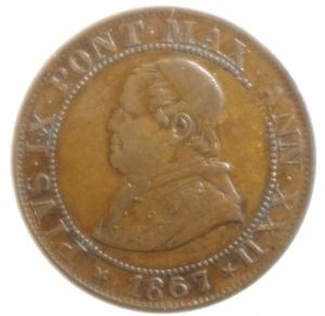 obverse: Zecche Italiane. Roma. Pio IX. 1866-1870. Mezzo soldo 1867 anno XXII. M.62a. Peso gr. 2,37. Diametro mm. 22. BB+.