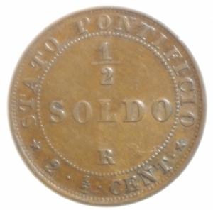 reverse: Zecche Italiane. Roma. Pio IX. 1866-1870. Mezzo soldo 1867 anno XXII. M.62a. Peso gr. 2,37. Diametro mm. 22. BB+.
