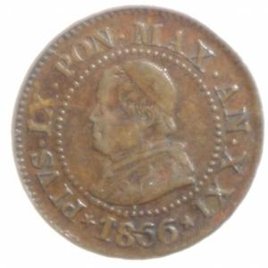 obverse: Zecche Italiane. Roma. Pio IX. 1846-1878. 1 centesimo 1866 anno XXI. Ae. P. 608. Peso 0,92 gr. Diametro 15 mm. BB+. NC.
