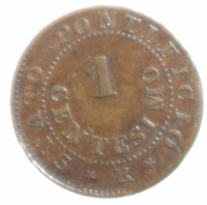 reverse: Zecche Italiane. Roma. Pio IX. 1846-1878. 1 centesimo 1866 anno XXI. Ae. P. 608. Peso 0,92 gr. Diametro 15 mm. BB+. NC.