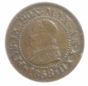 obverse: Zecche Italiane. Roma. Pio IX. 1846-1878. 1 centesimo 1868 anno XXII. Ae. Montenegro 2014 419 (R/4, valutazione SPL 1.100 euro).P. 610. Peso 1,00 gr. Diametro 15 mm. BB+. RRRR.