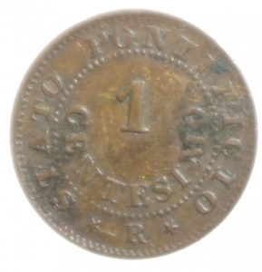 reverse: Zecche Italiane. Roma. Pio IX. 1846-1878. 1 centesimo 1868 anno XXII. Ae. Montenegro 2014 419 (R/4, valutazione SPL 1.100 euro).P. 610. Peso 1,00 gr. Diametro 15 mm. BB+. RRRR.