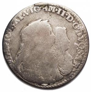 obverse: Casa Savoia -Vittorio Amedeo II (Reggenza della madre 1675-1680).1/2 lira 1677.MIR 839c.AG.g 2,74.mm 21,35. MB. R