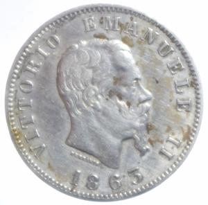 obverse: Casa Savoia.Vittorio Emanuele II. 1861-1878. 1 Lira 1863 Milano stemma. Ag. Buon BB+.