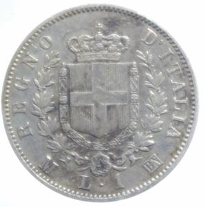 reverse: Casa Savoia.Vittorio Emanuele II. 1861-1878. 1 Lira 1863 Milano stemma. Ag. Buon BB+.