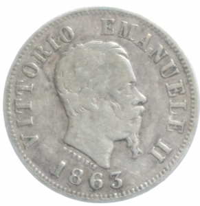obverse: Casa Savoia. Vittorio Emanuele II. 50 Centesimi 1863 Milano. Pagani 525. Ag. MB+.