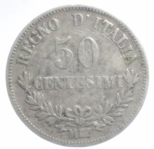 reverse: Casa Savoia. Vittorio Emanuele II. 50 Centesimi 1863 Milano. Pagani 525. Ag. MB+.