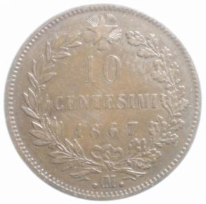 obverse: Casa Savoia. Vittorio Emanuele II. 10 Centesimi 1867. Strasburgo. Peso 9,80gr. Diametro 30 mm. BB.