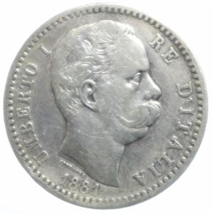 obverse: Casa Savoia. Umberto I. 2 Lire 1881. Roma. Ag. Peso 10,00 gr. Diametro 27,50 mm. qBB.