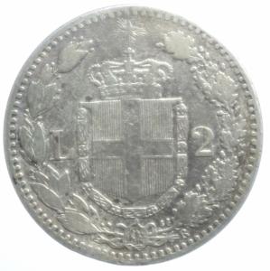 reverse: Casa Savoia. Umberto I. 2 Lire 1881. Roma. Ag. Peso 10,00 gr. Diametro 27,50 mm. qBB.