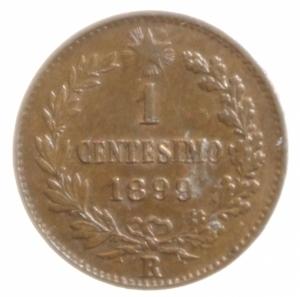 reverse: Casa Savoia. Umberto I. 1 Centesimo 1899. qFDC. Rame rosso parziale.