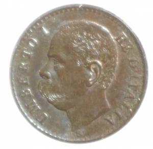 obverse: Casa Savoia. Umberto I. 1 Centesimo 1900. SPL. Rame rosso parziale.