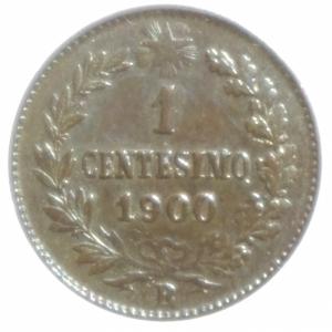reverse: Casa Savoia. Umberto I. 1 Centesimo 1900. SPL. Rame rosso parziale.
