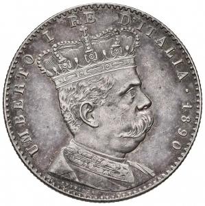 obverse: Casa Savoia - Umberto I (1878-1900) Eritrea. 2 Lire 1890. AG.qSPL. Patina
